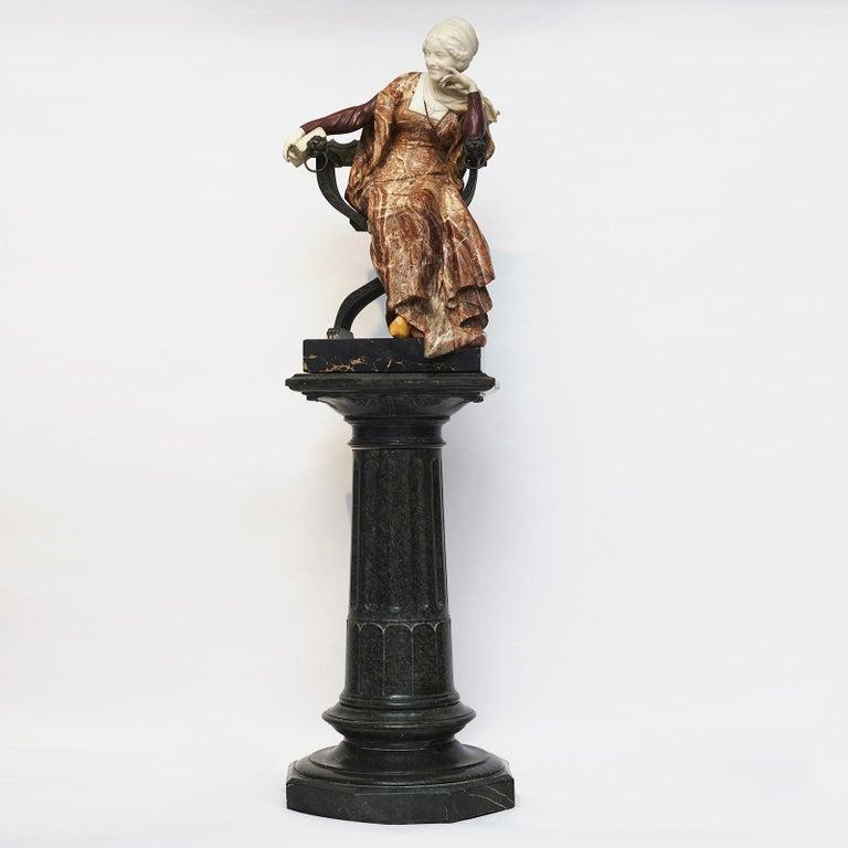 Ferdinando Vichi Marble Sculpture Sitting Woman In Good Condition For Sale In Nordhavn, DK