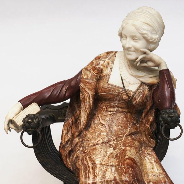 20th Century Ferdinando Vichi Marble Sculpture Sitting Woman For Sale