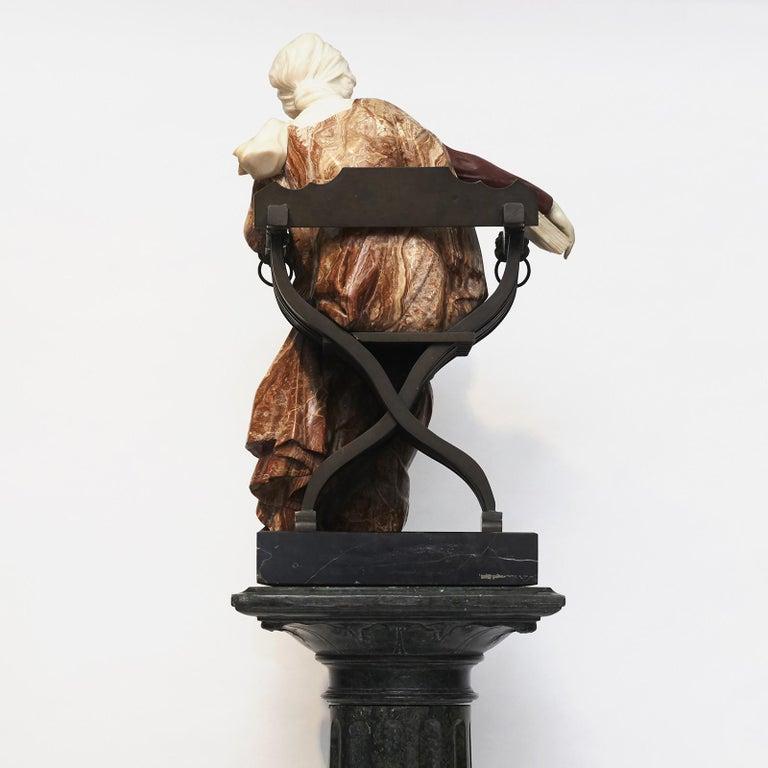 Ferdinando Vichi Marble Sculpture Sitting Woman For Sale 2