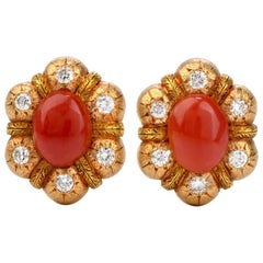 Feriozzi Vintage Red Coral 18 Karat Textured Gold Clip-On Earrings