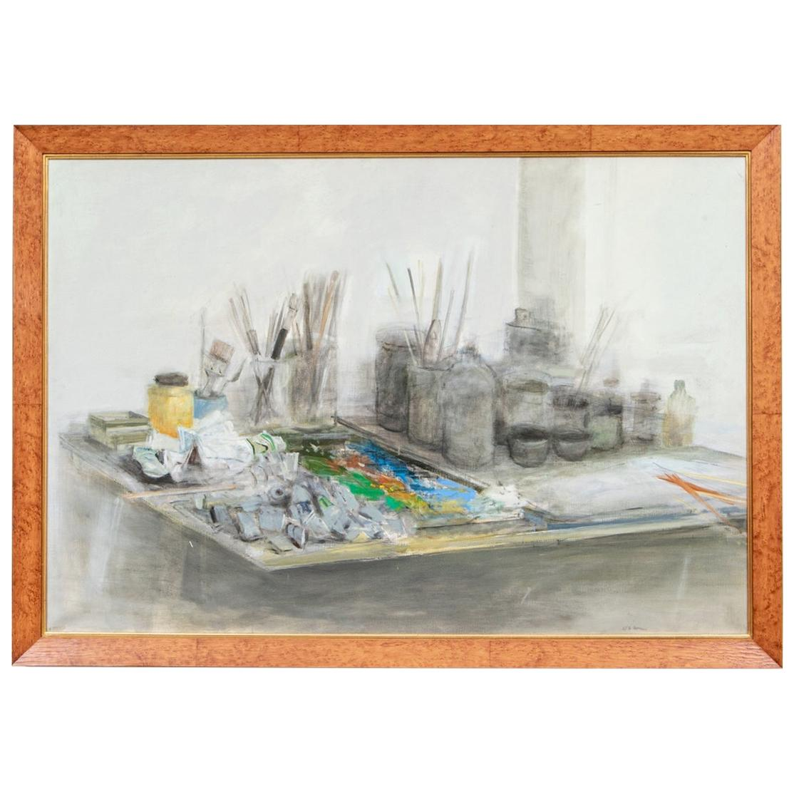 Ferit Iscan Oil on Canvas, Still Life with Painting Supplies