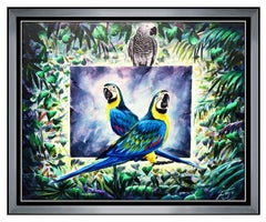 FERJO Fernando Oliviera Original Painting Oil On Canvas Signed Surreal Bird Art