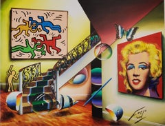 Ferjo Homage To Andy Warhol and Keith Haring #3 Original Oil On Canvas