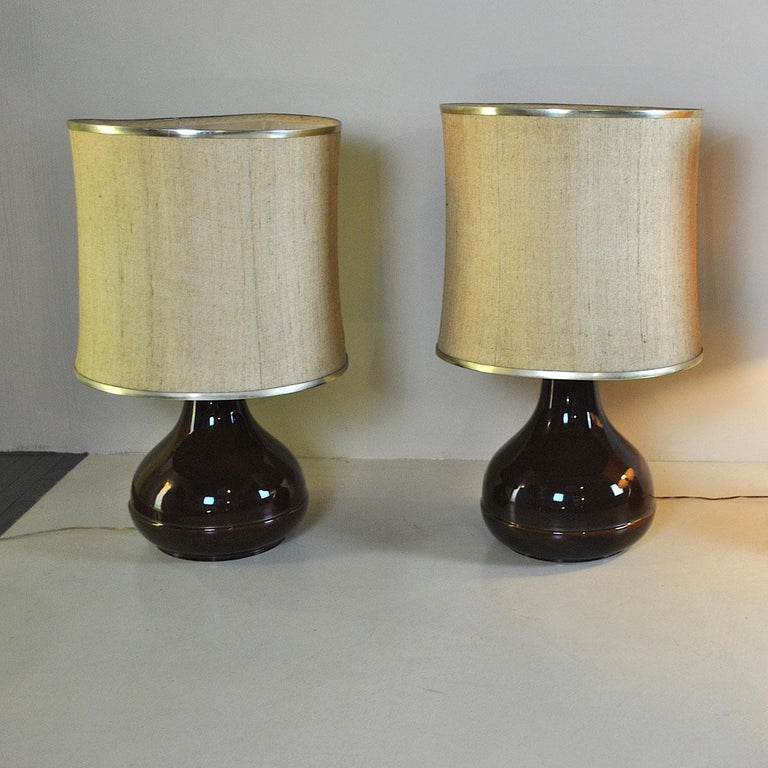 Ferlaro ceramic Italian midcentury table lamp from the 1960s  Lampshades can be made in any color and size with additional cost. The price of the lamp is meant with the lampshade in the photo and for only one lamp.