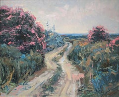 I walk with oleanders oil on board painting landscape Spain