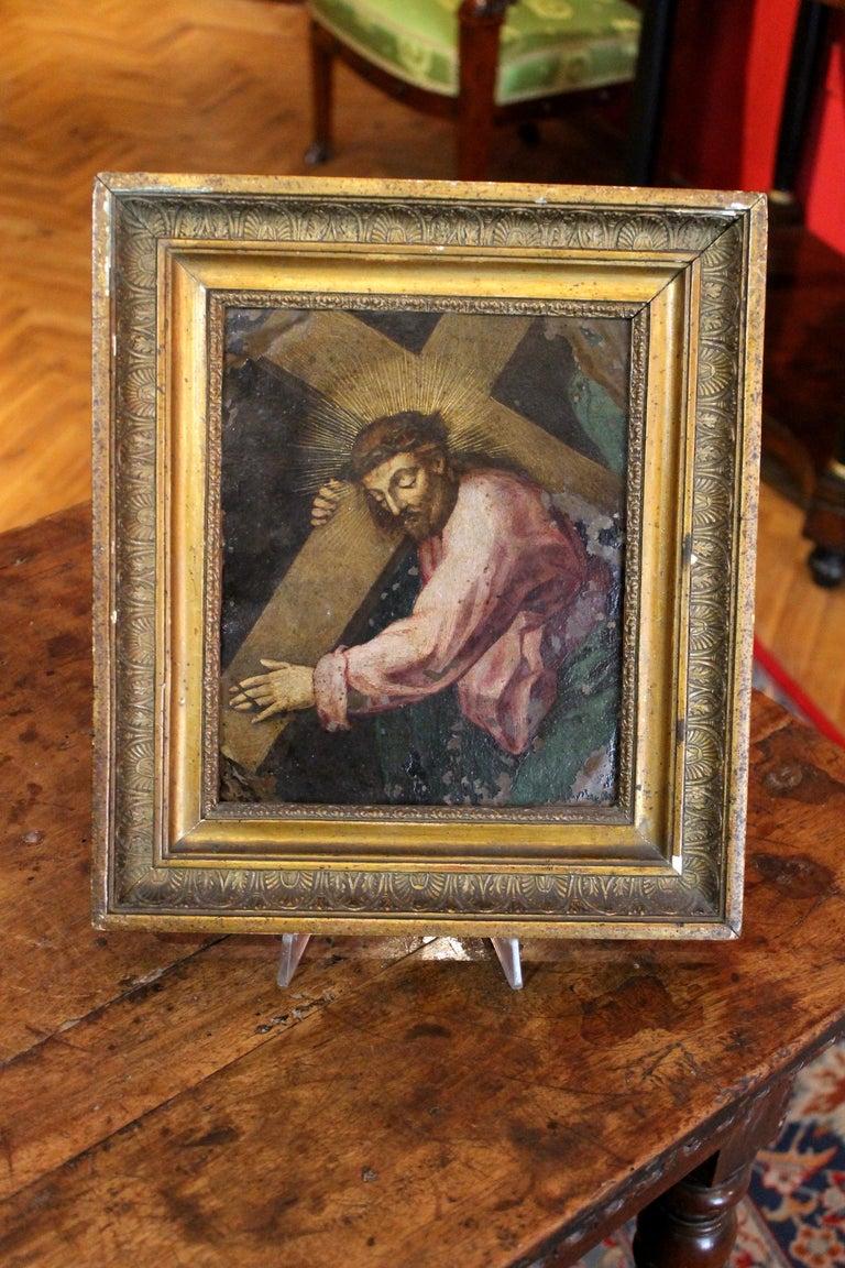 F. Fenzoni (Circle), Italian 16th century Religious Oil on Copper Painting - Brown Portrait Painting by Ferrau Fenzoni
