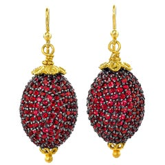 Fern Freeman Shimmering Ruby Yellow Gold Oval Dangle Drop Earrings