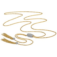 Fern Freeman Sliding Diamond Barrel Fringe Tassle Gold Lariat Necklace