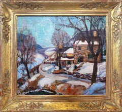 Lumberville House in Winter, New Hope Pennsylvania Impressionist Landscape