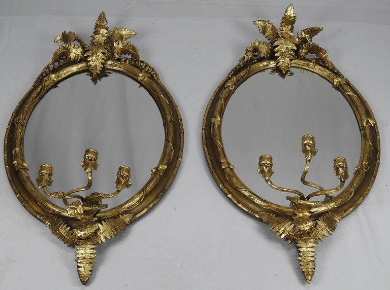 Renaissance Fern Leaf Mirrored Sconces For Sale