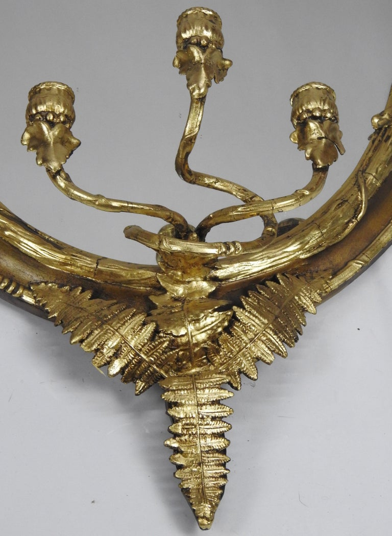 19th Century Fern Leaf Mirrored Sconces For Sale