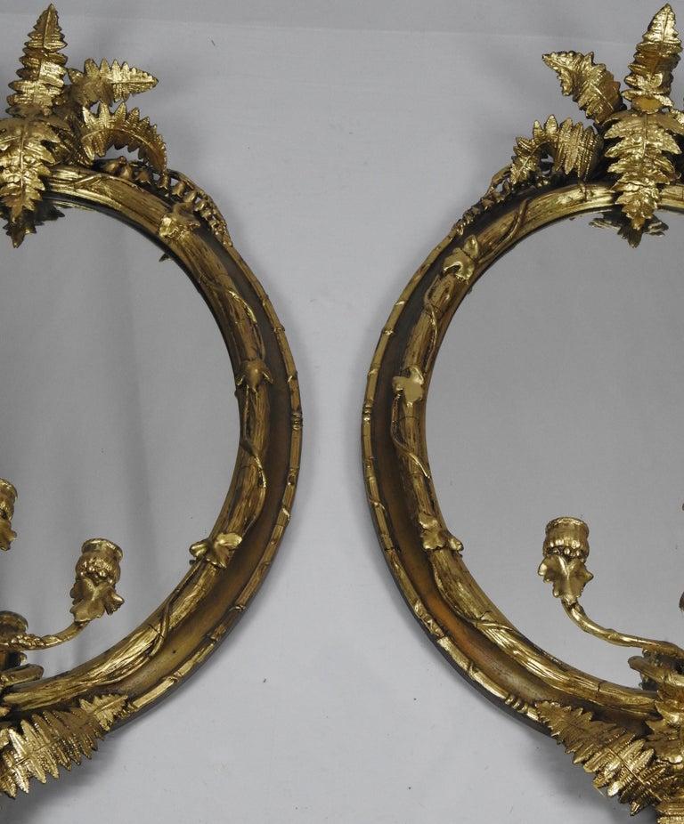 Giltwood Fern Leaf Mirrored Sconces For Sale