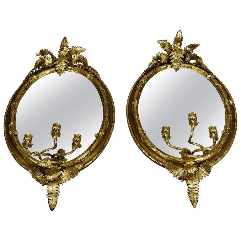Fern Leaf Mirrored Sconces For Sale