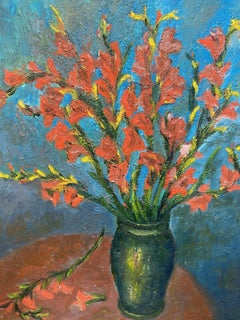 FERNAND AUDET (1923-2016) LARGE FRENCH IMPRESSIONIST OIL - FLOWERS IN VASE