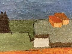 FERNAND AUDET (1923-2016) MID 20TH CENTURY FRENCH OIL - BLOCK COLOUR LANDSCAPE