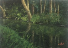 SIGNED FRENCH POST-IMPRESSIONIST OIL - DAPPLED LIGHT RIVER REFLECTIONS