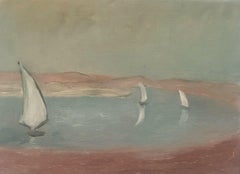 SIGNED FRENCH POST-IMPRESSIONIST OIL - SAILING BOATS AT SEA