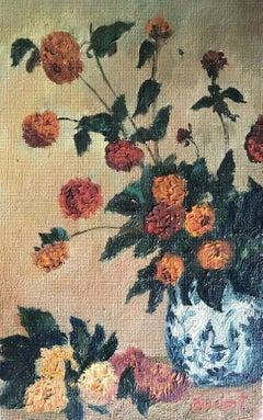 SIGNED FRENCH POST-IMPRESSIONIST OIL - Still Life of Flowers Blue & White Vase