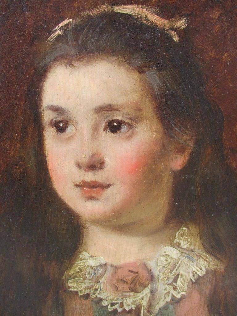 Renoir-esque Impressionist  Little Girl France Paris 19th Century Belle Epoque - Realist Painting by Fernand de Launay