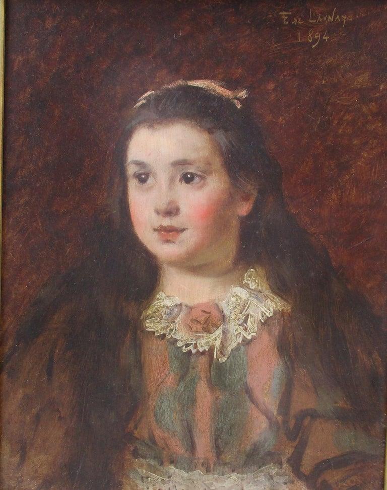 Fernand de Launay Portrait Painting - Renoir-esque Impressionist  Little Girl France Paris 19th Century Belle Epoque