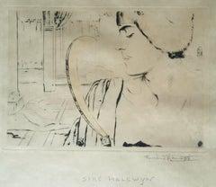 Sire Halewyn - Origina Etching, Drypoint and Color Pencil by F. Khnopff - 1893
