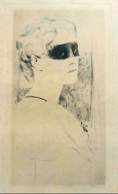 Un Masque - Origina Etching and Drypoint by F. Khnopff - 1893