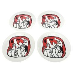 Fernand Léger after Set of Four Black Red White French Limoges Porcelain Plates