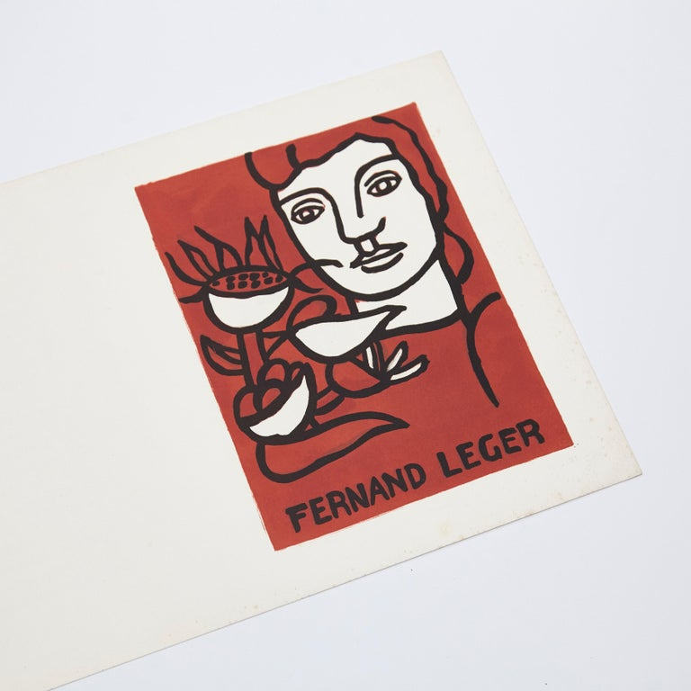 Mid-Century Modern Fernand Leger and Poem Andre Verdet Numered and Signed Lithography For Sale
