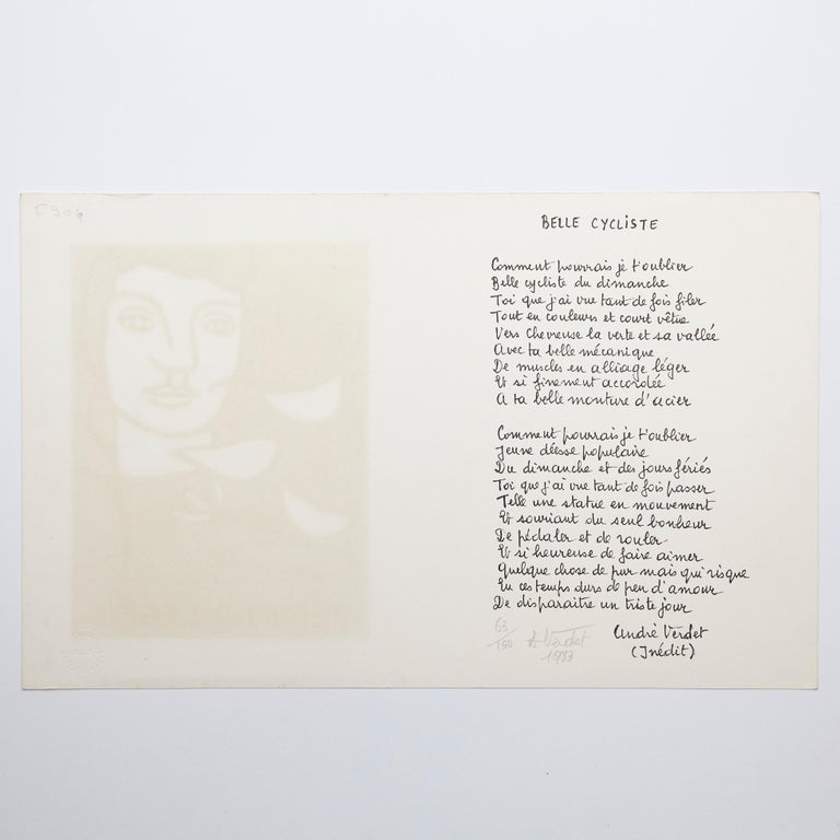 Fernand Leger and Poem Andre Verdet Numered and Signed Lithography For Sale 2