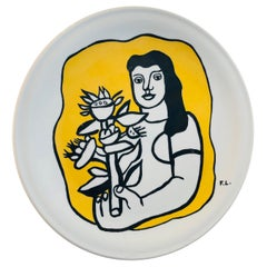 Fernand Leger Biot Ltd. Edition White Porcelain with Yellow & Black Design Plate