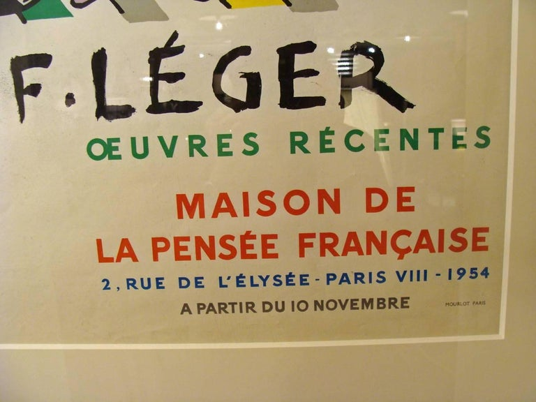Wonderful image executed by Mourlot 1954 exhibition poster, screen-print. Museum/ archival framing. Small crease upper left corner. A few small edge wrinkles. No tears or holes. No noticeable staining.