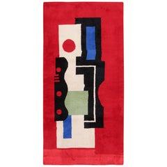 Fernand Leger No 9 Rouge Design Vintage French Rug