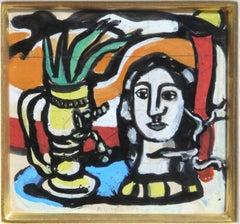 Statuette au Vase Jaune, painting by Fernand Leger c.1949