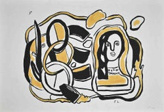 Composition in Black and Yellow - Original Screen Print after F. Leger - 1954