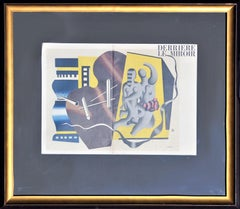 """""""Derriere Le Miroir 1955"""" Blue, Yellow, and Brown Abstract Figurative Lithograph"""