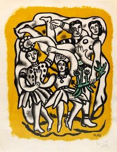 Les Danseuses (Fond jaune) - Léger, Print, Lithograph, Figurative art, Modern.