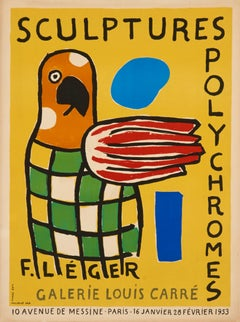 Sculptures Polychromes by Fernand Leger - modern lithograph (abstract parrot)