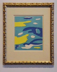 Water, Surrealist abstract in green, yellow and blue, framed lithograph