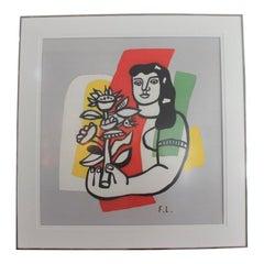 "Fernand Leger ""Woman Holding Flowers"" Print on Silk Scarf 70/250"