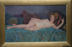 Reclining Nude - French 1911 Post Impressionist art oil painting female portrait