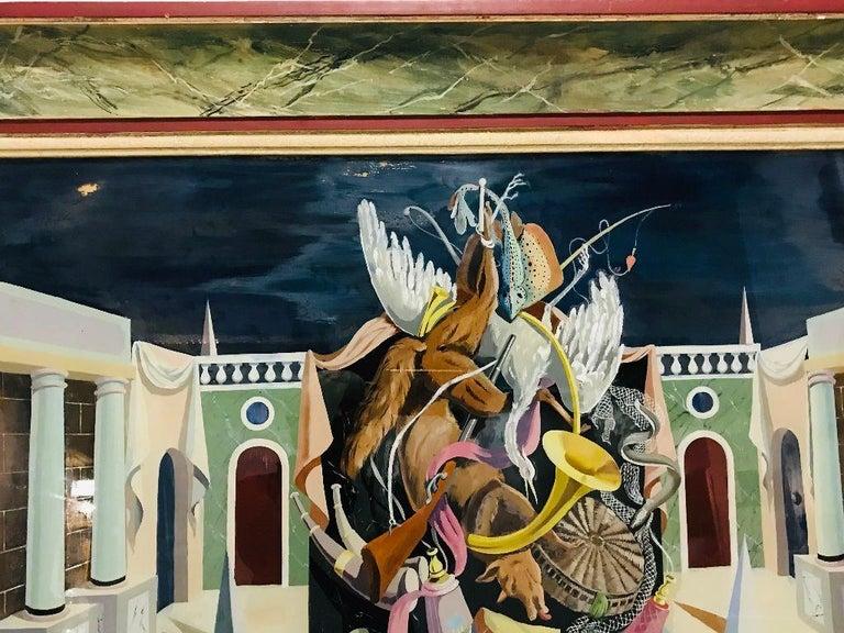 Fernand Renard Reverse Painting on Glass, 1939 Paris Surreal Trompe L'oeil For Sale 3