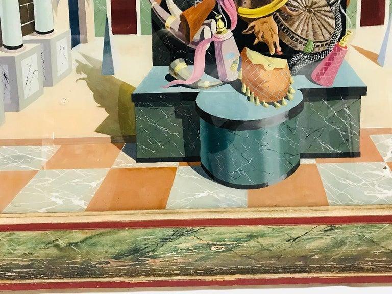 Fernand Renard Reverse Painting on Glass, 1939 Paris Surreal Trompe L'oeil For Sale 4