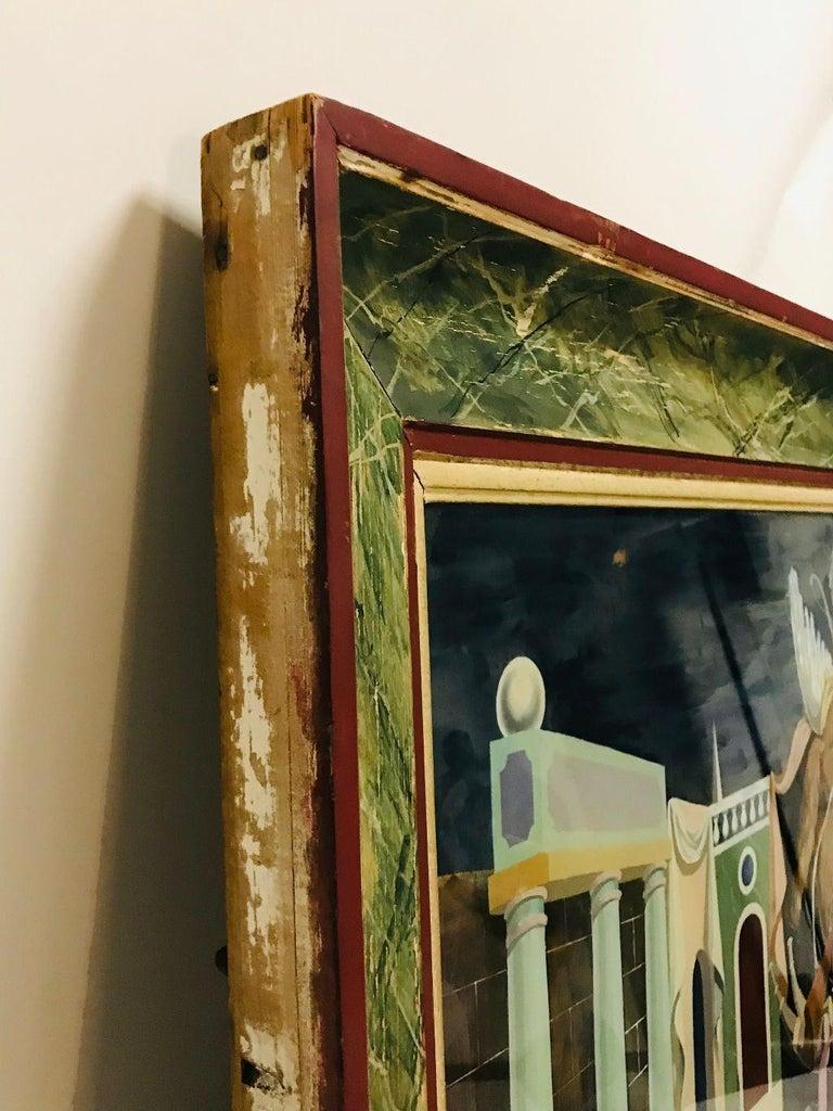 Fernand Renard Reverse Painting on Glass, 1939 Paris Surreal Trompe L'oeil For Sale 5