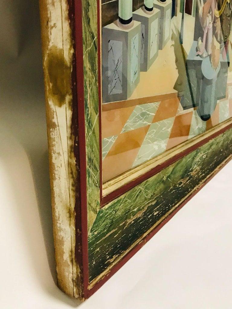 Fernand Renard Reverse Painting on Glass, 1939 Paris Surreal Trompe L'oeil For Sale 6