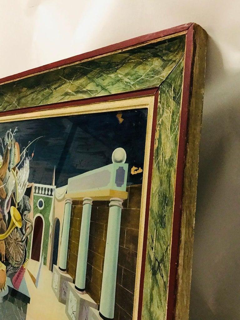 Fernand Renard Reverse Painting on Glass, 1939 Paris Surreal Trompe L'oeil For Sale 8