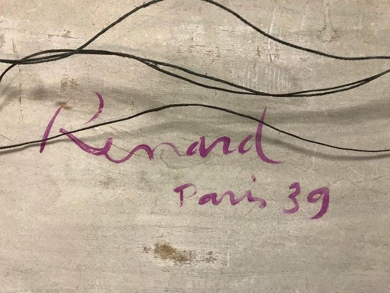 Fernand Renard Reverse Painting on Glass, 1939 Paris Surreal Trompe L'oeil For Sale 11