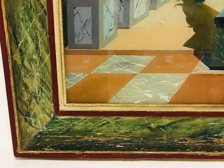 Painted Fernand Renard Reverse Painting on Glass, 1939 Paris Surreal Trompe L'oeil For Sale