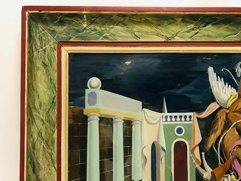 Fernand Renard Reverse Painting on Glass, 1939 Paris Surreal Trompe L'oeil In Good Condition For Sale In Plymouth, MA
