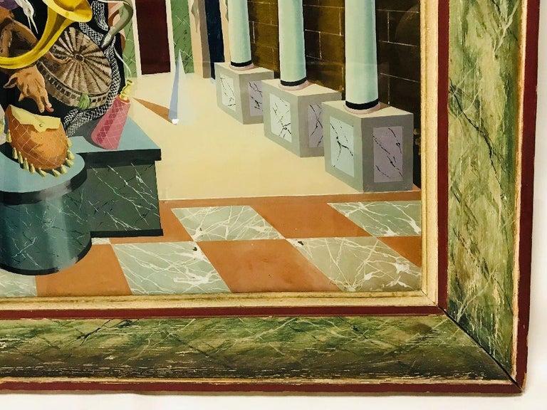 Mid-20th Century Fernand Renard Reverse Painting on Glass, 1939 Paris Surreal Trompe L'oeil For Sale