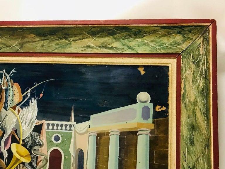 Fernand Renard Reverse Painting on Glass, 1939 Paris Surreal Trompe L'oeil For Sale 1
